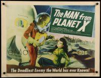 9h157 MAN FROM PLANET X style B 1/2sh '51 Edgar Ulmer, great full art of alien with girl & in ship!