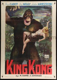 9h268 KING KONG Italian 1p R49 different Olivetti art of the giant ape carrying sexy Fay Wray!