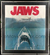 9h283 JAWS int'l 7-sheet poster 1975 Steven Spielberg, gigantic art of shark under girl, rare!