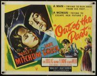 9j019 OUT OF THE PAST style A 1/2sh '47 great art of smoking Robert Mitchum & Jane Greer with gun!