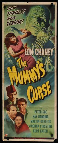 9j001 MUMMY'S CURSE insert '44 cool image of bandaged monster Lon Chaney Jr. menacing pretty girl!