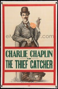1t321 THIEF CATCHER linen 1sh '10s cool full-length stone litho of Charlie Chaplin smoking cigar!