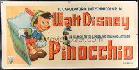 1w008 PINOCCHIO linen Italian 40x81 '47 wonderful art of classic wooden boy emerging from book!