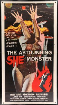 2w045 ASTOUNDING SHE MONSTER linen 3sh '58 art of the beautiful & deadly creature from the stars!