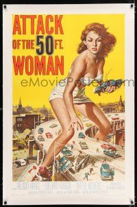 2w001 ATTACK OF THE 50 FT WOMAN linen 1sh '58 classic Brown art of Allison Hayes over highway!