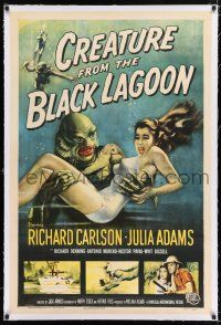 2w011 CREATURE FROM THE BLACK LAGOON linen 1sh '54 great art of monster holding sexy Julie Adams!