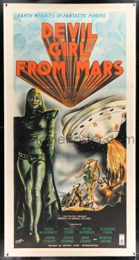 2w043 DEVIL GIRL FROM MARS linen English 3sh '55 Robb art of female alien & attacking spaceship!