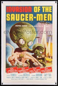 2w025 INVASION OF THE SAUCER MEN linen 1sh '57 classic Kallis art of cabbage head aliens & sexy girl