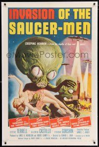 3p180 INVASION OF THE SAUCER MEN linen 1sh '57 classic Kallis art of cabbage head aliens & sexy girl