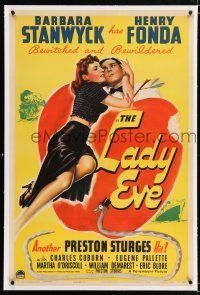3p198 LADY EVE linen 1sh '41 Preston Sturges, great Biblical art of Barbara Stanwyck & Henry Fonda!