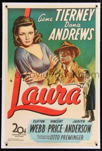 3p208 LAURA linen 1sh '44 art of Dana Andrews between Gene Tierney & Vincent Price, classic noir!