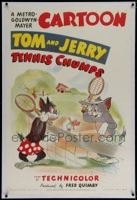 3p389 TENNIS CHUMPS linen 1sh '49 wonderful cartoon image of Tom & Jerry w/ Butch on tennis court!