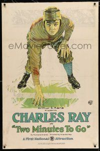 3p419 TWO MINUTES TO GO linen 1sh '21 great stone litho of college football player Charles Ray!