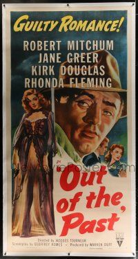3s174 OUT OF THE PAST linen style A 3sh R53 art of Robert Mitchum & Jane Greer + Kirk Douglas shown!
