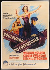 3s132 SUNSET BOULEVARD linen French 1p '50 Soubie art of Swanson, Holden, von Stroheim & Olson!