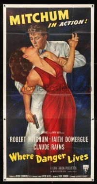 3t114 WHERE DANGER LIVES 3sh '50 best full-length art of Robert Mitchum grabbing Faith Domergue!