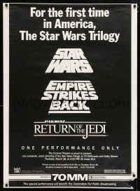 3t001 STAR WARS TRILOGY 1sh '85 one-time PBS benefit showing at San Francisco's Coronet Theatre!