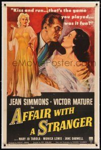 5m005 AFFAIR WITH A STRANGER linen 1sh '53 great art of Jean Simmons, Victor Mature & sexy bad girl!