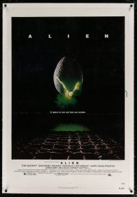 5m006 ALIEN linen 1sh '79 Ridley Scott outer space sci-fi monster classic, cool hatching egg image!