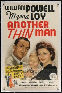 5m009 ANOTHER THIN MAN linen style D 1sh '39 art of William Powell & Myrna Loy with Nick Jr., rare!
