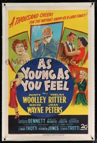 5m011 AS YOUNG AS YOU FEEL linen 1sh '51 great art including young sexy Marilyn Monroe!