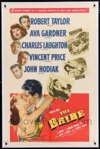 5m026 BRIBE linen 1sh '49 Robert Taylor, sexy young Ava Gardner, Charles Laughton, Vincent Price