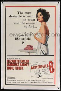 5m029 BUTTERFIELD 8 linen 1sh '60 call girl Elizabeth Taylor is the most desirable & easiest to find