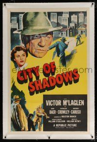 5m033 CITY OF SHADOWS linen 1sh '55 Victor McLaglen in New York City, cool crime artwork!