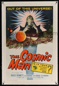 5m035 COSMIC MAN linen 1sh '59 artwork of soldiers & tanks attacking wacky creature from space!