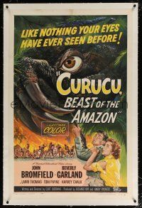 5m036 CURUCU, BEAST OF THE AMAZON linen 1sh '56 Universal horror, great monster art by Reynold Brown