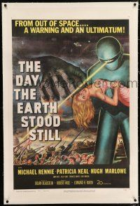 5m037 DAY THE EARTH STOOD STILL linen 1sh '51 classic art of Gort holding Patricia Neal!