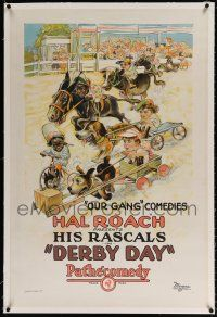 5m040 DERBY DAY linen 1sh '23 stone litho art of Our Gang kids in race between animals & tricycle!