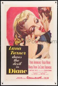 5m042 DIANE linen 1sh '56 sexy Lana Turner dares the devil, great close up romantic artwork!
