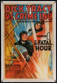 5m043 DICK TRACY VS. CRIME INC. linen chapter 1 1sh '41 art of Byrd in plane, serial, Fatal Hour!