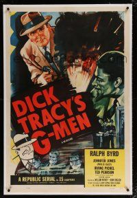 5m044 DICK TRACY'S G-MEN linen 1sh R55 Ralph Byrd, serial, cool art from Chester Gould's comic!