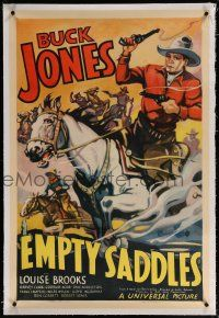 5m050 EMPTY SADDLES linen 1sh '36 great art of Buck Jones on his horse with cowboys behind him!
