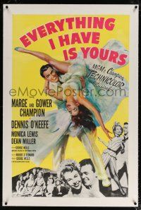 5m051 EVERYTHING I HAVE IS YOURS linen 1sh '52 full-length art of Marge & Gower Champion dancing!