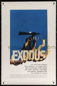 5m052 EXODUS linen 1sh '61 Otto Preminger, great artwork of arms reaching for rifle by Saul Bass!