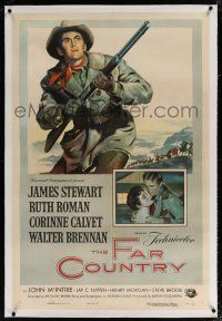 5m053 FAR COUNTRY linen 1sh '55 cool art of James Stewart with rifle, directed by Anthony Mann!