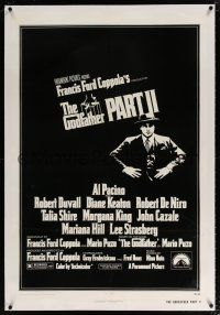 5m060 GODFATHER PART II linen 1sh '74 Al Pacino in Francis Ford Coppola classic crime sequel!