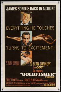5m061 GOLDFINGER linen 1sh '64 3 great images of Sean Connery as James Bond + golden Shirley Eaton!