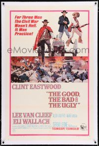 5m062 GOOD, THE BAD & THE UGLY linen 1sh '68 Clint Eastwood, Lee Van Cleef, Wallach, Leone classic!