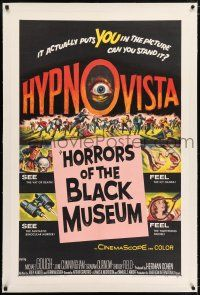 5m069 HORRORS OF THE BLACK MUSEUM linen 1sh '59 amazing new dimension in screen thrills, Hypno-Vista