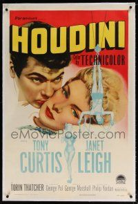 5m070 HOUDINI linen 1sh '53 art of magician Tony Curtis and his sexy assistant Janet Leigh!