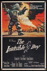 5m072 INVISIBLE BOY linen 1sh '57 Robby the Robot as the science-monster who'd destroy the world!