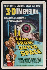 5m073 IT CAME FROM OUTER SPACE linen 1sh '53 Ray Bradbury, classic 3-D sci-fi, Joseph Smith art!