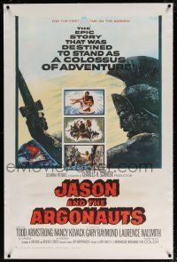 5m074 JASON & THE ARGONAUTS linen 1sh '63 great special effects by Ray Harryhausen, art of colossus!