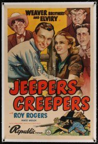 5m076 JEEPERS CREEPERS linen 1sh '39 art of young Roy Rogers in front of Elviry & Weaver Brothers!