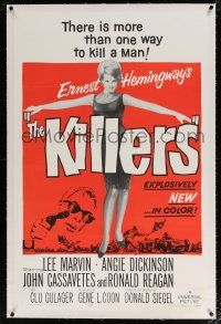 5m081 KILLERS linen 1sh '64 sexy full-length Angie Dickinson, Lee Marvin, directed by Don Siegel!