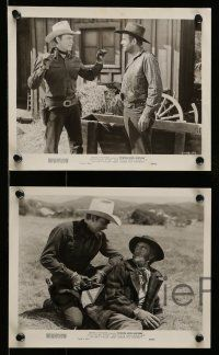 9s660 POWDER RIVER RUSTLERS 5 8x10 stills '49 cowboy Rocky Lane stops a fake railroad agent!